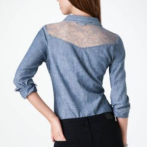 American Eagle western style chambray lace blouse